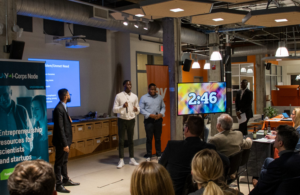 Students from Ithaca College pitch their business ideas at the IC Startup Demo Day held at Rev.